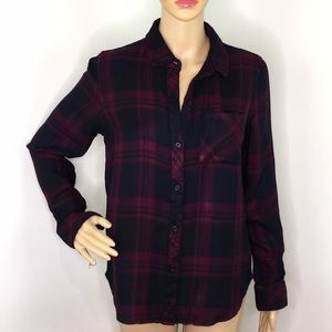 Rails Deep Red & Black Plaid Button Down Shirt